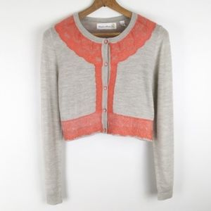 ANTHROPOLOGIE | wool lace cropped sweater 0345